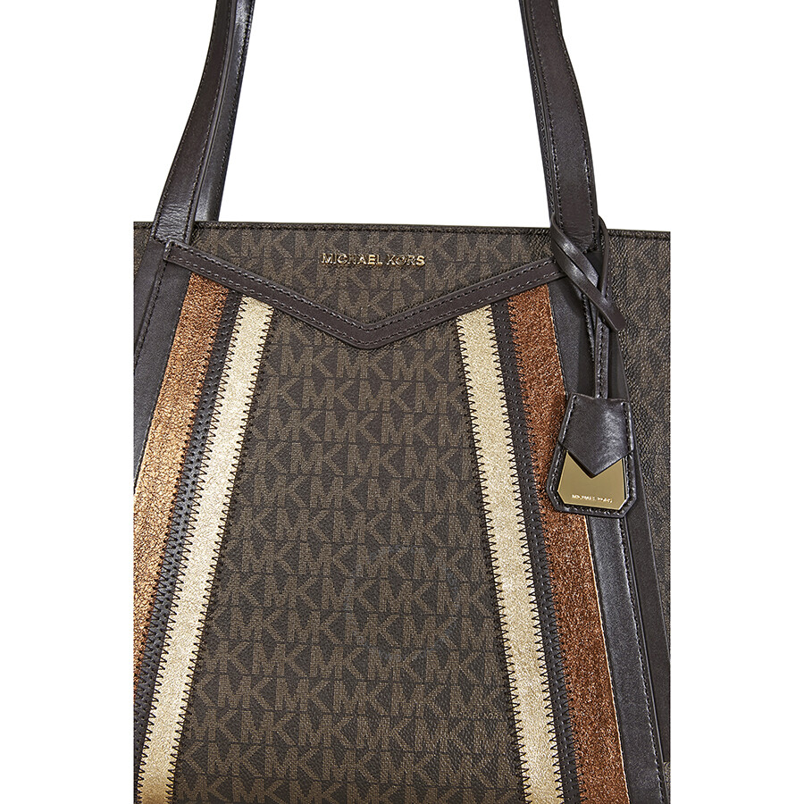 8ad849a5822141 Michael Kors Whitney Signature Metallic Tote- Brown/Gold - Michael ...
