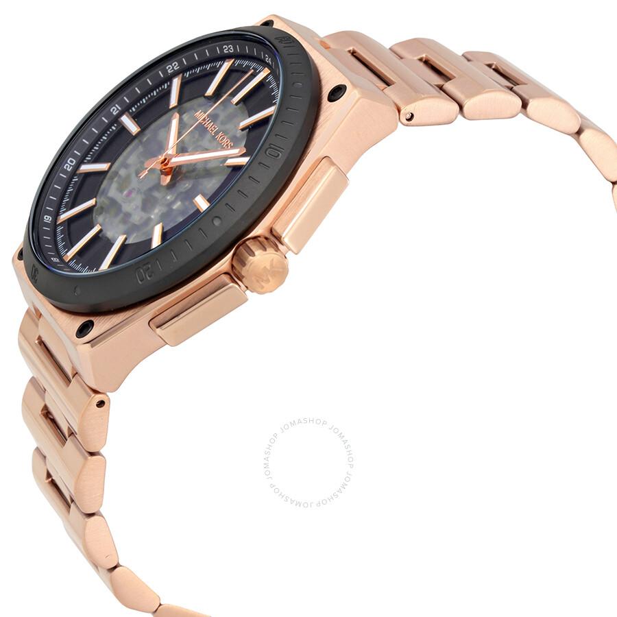michael kors wilder rose goldtone automatic mens watch