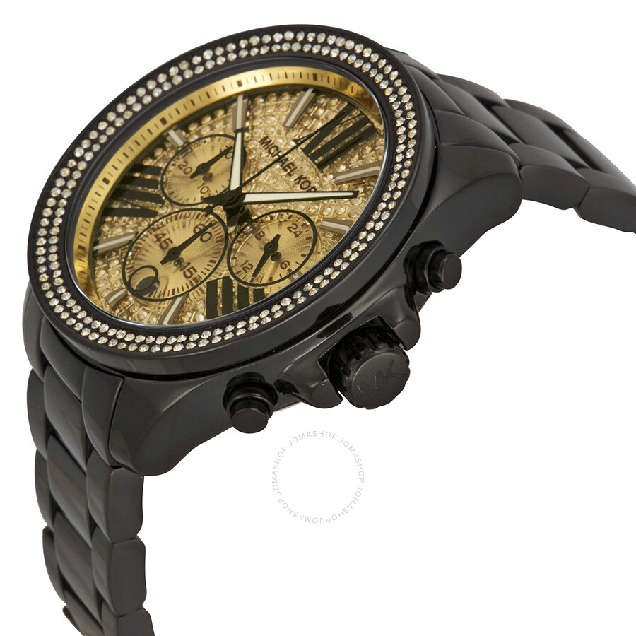 6051c3446 Michael Kors Wren Chronograph Crystal Pave Dial Black Ion plated on ...