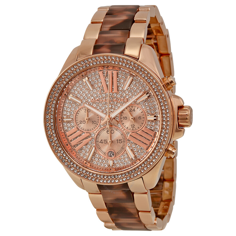 9e0a602f2200 Michael Kors Wren Chronograph Crystal Pave Dial Rose Gold-tone and  Tortoise-shell Acetate ...