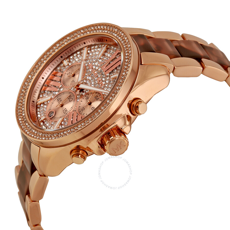 266dfdbe11b5 ... Michael Kors Wren Chronograph Crystal Pave Dial Rose Gold-tone and  Tortoise-shell Acetate ...