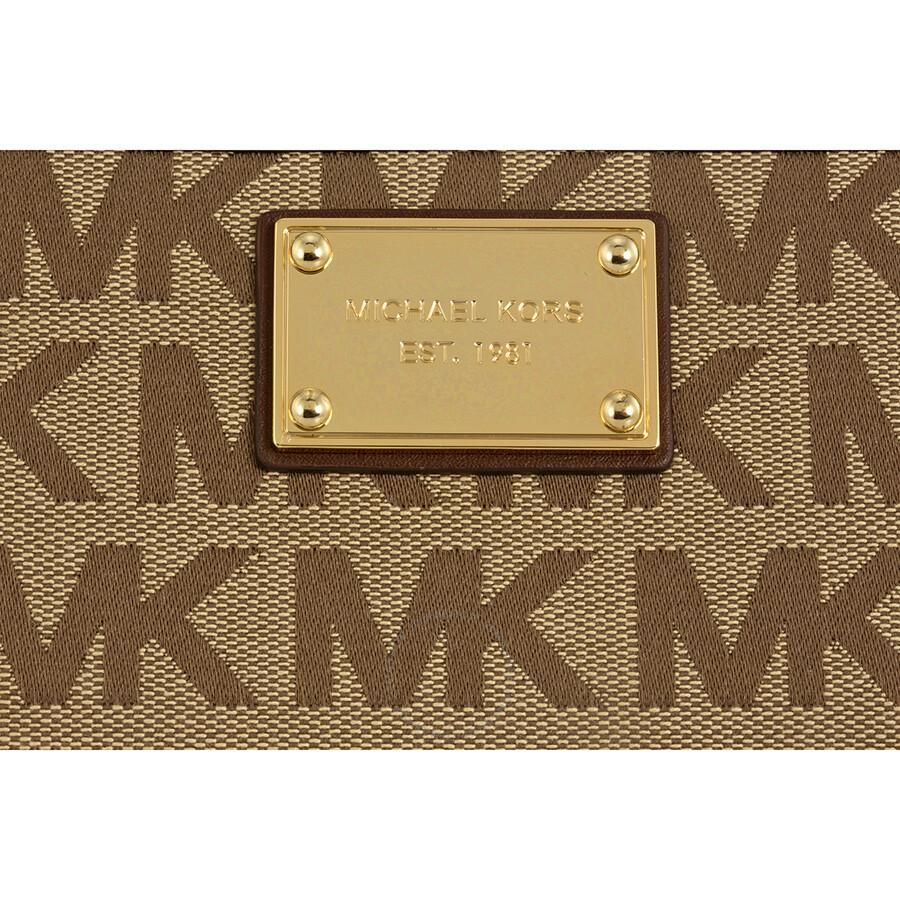 8d4cf67aab03 Michael Kors ZA Continental Mocha Logoed Fabric Continental Wallet ...