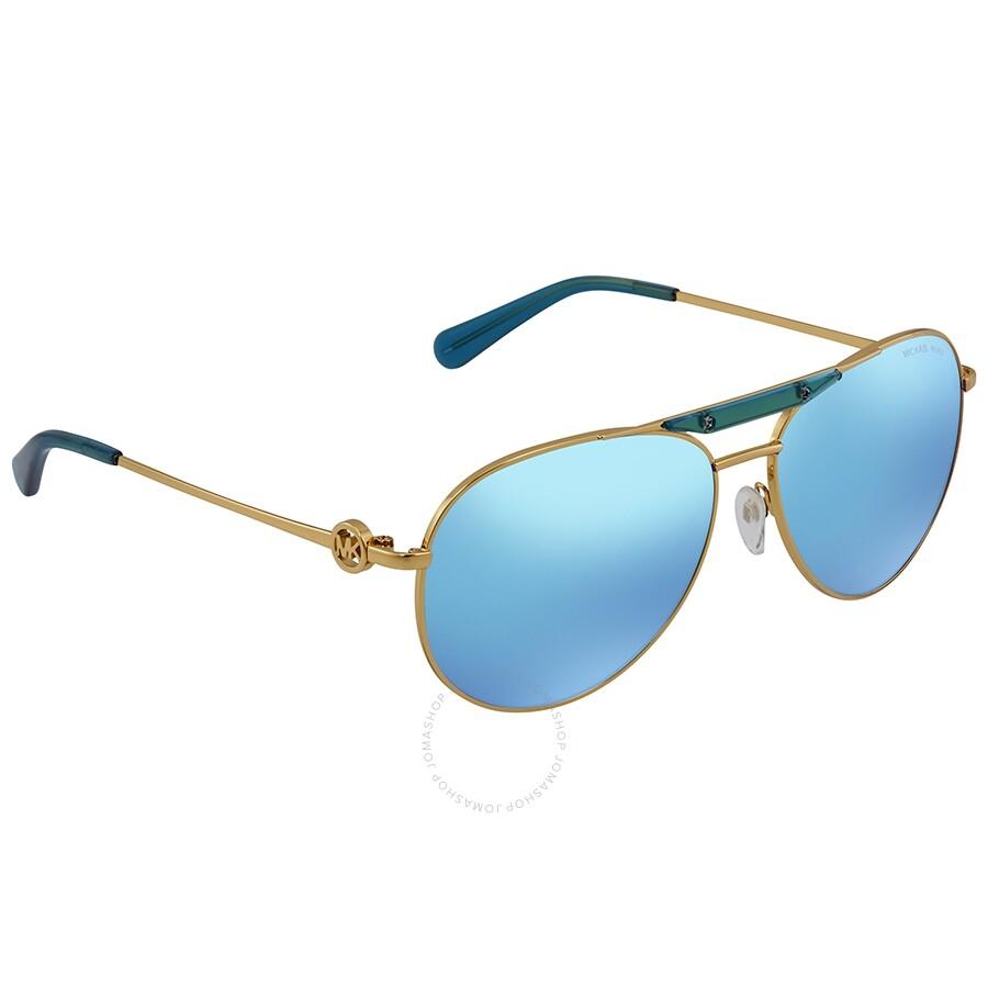 c20c0eae5a Michael Kors Zanzibar Teal Mirrored Aviator Ladies Sunglasses MK5001-109725- 58 ...