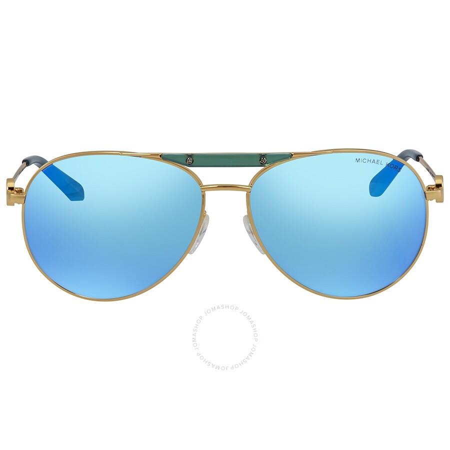 c1e4668ea8 Michael Kors Zanzibar Teal Mirrored Aviator Las Sunglasses Mk5001