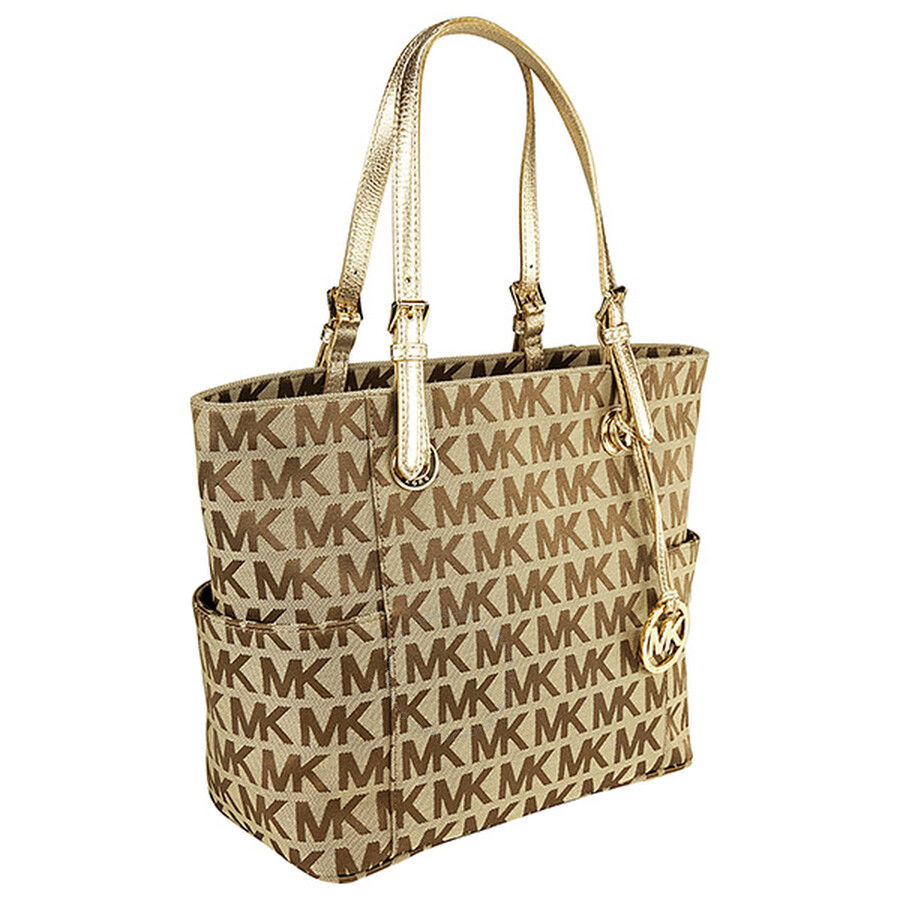 Michael Kors Jet Set Ebony Gold East West Signature Tote Mk30s11ttt4j 784