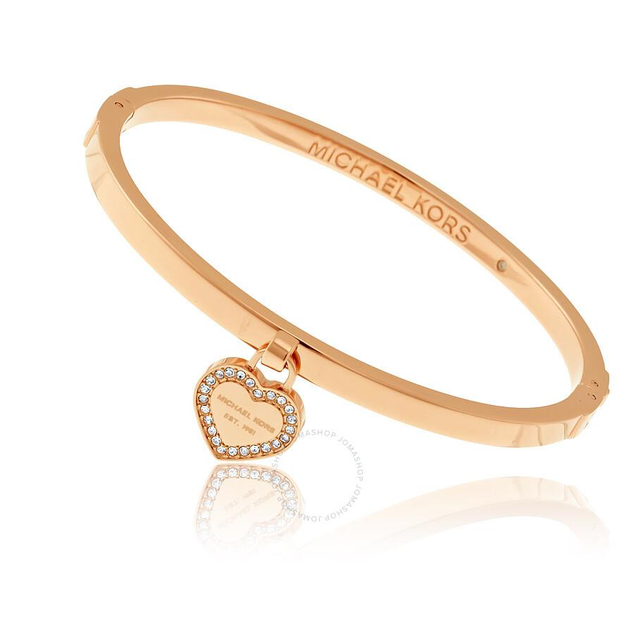 97f92089a88f Micheal Kors Rose Gold-tone Logo Heart Bangle - Michael Kors ...