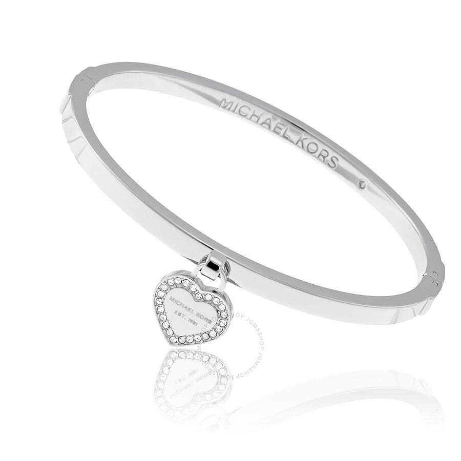 dc86cf8d4e8ba Micheal Kors Silver-tone Logo Heart Bangle MKJ5038040 - Michael Kors ...