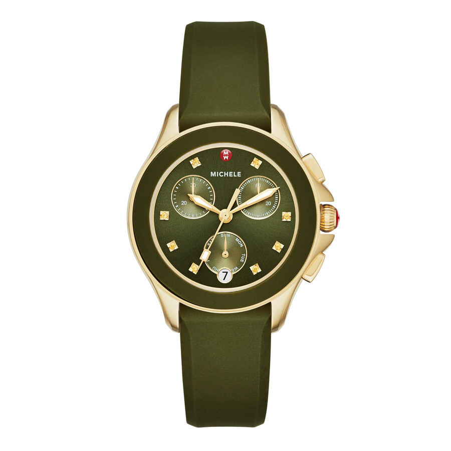 Michele Cape Olive Green Sunray Dial Ladies Chronograph