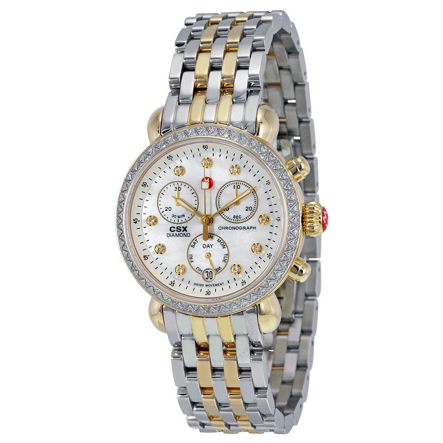 1f68e30d118b Michele CSX 36 Mother of Pearl Diamond Dial Two-tone Ladies Watch  MWW03M000158 ...
