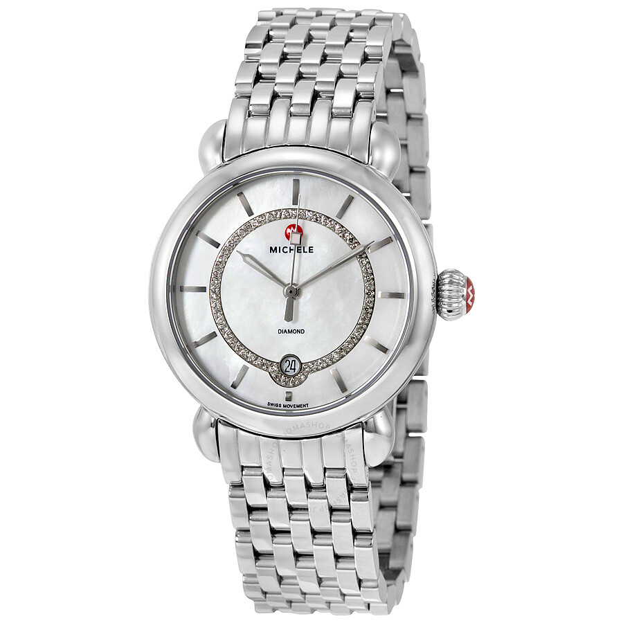 Michele Csx Elegance Mother Of Pearl Dial Stainless Steel Ladies Watch Mww03t000058