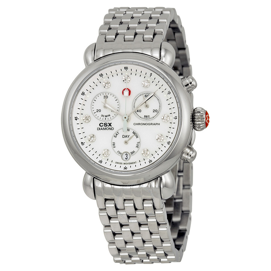 Michele csx mother of pearl diamond dial chronograph ladies watch mww03m000120 csx michele for Diamond dial watch