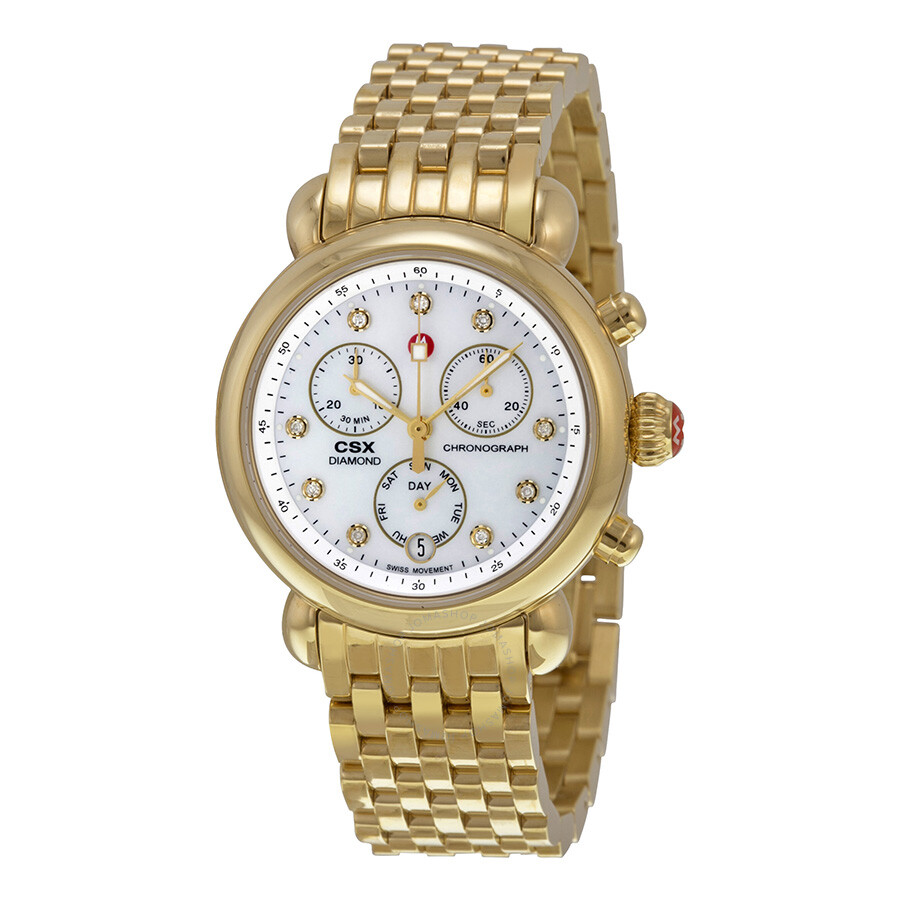 michele csx 36 chronograph gold tone