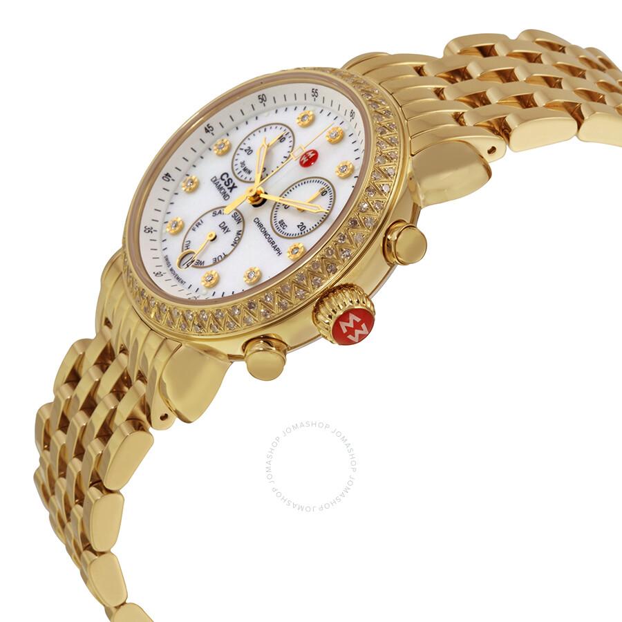 63ad449dab0d ... Michele CSX-36 Day Diamond Gold-plated Ladies Watch MWW03M000141 ...