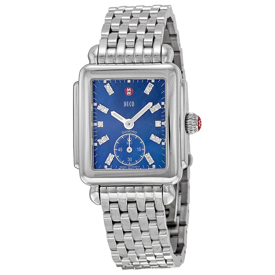 a90a8ebece1e Michele Deco 16 Blue Pearl Diamond Dial Ladies Watch MWW06V000037 ...