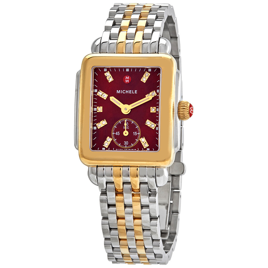Mon Coach Deco michele deco cabernet mother of pearl diamond dial ladies watch mww06v000113