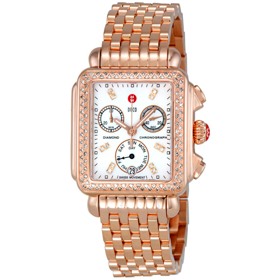 2dcd65b5eb9 Michele Deco Day White Dial Diamond Bezel Rose-Gold Ladies Watch  MWW06P000109 ...