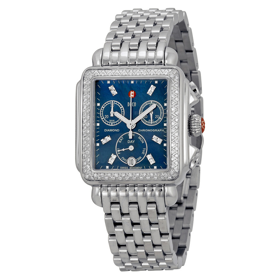 michele deco chronograph blue stainless steel