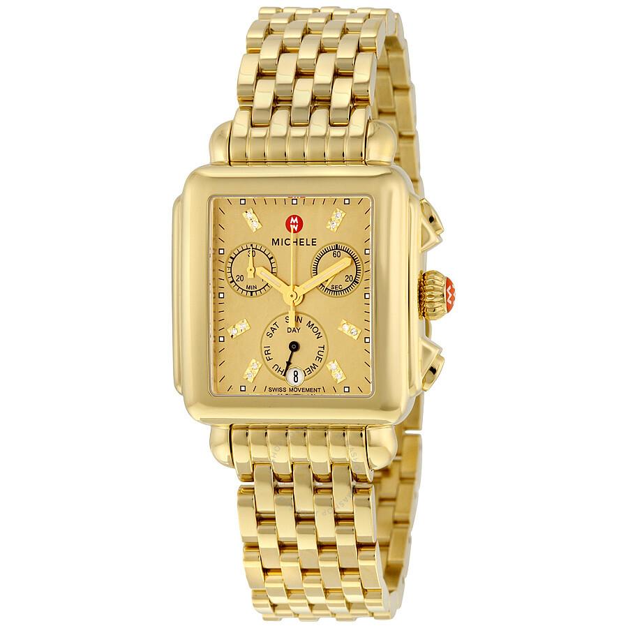 Mww06p000244 New Michele Deco Champagne Diamond Dial
