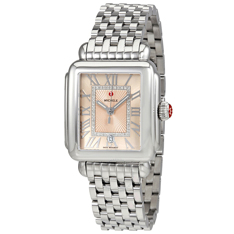 Michele Deco Madison Beige Sunray Dial Diamond Ladies Watch Mww06t000148