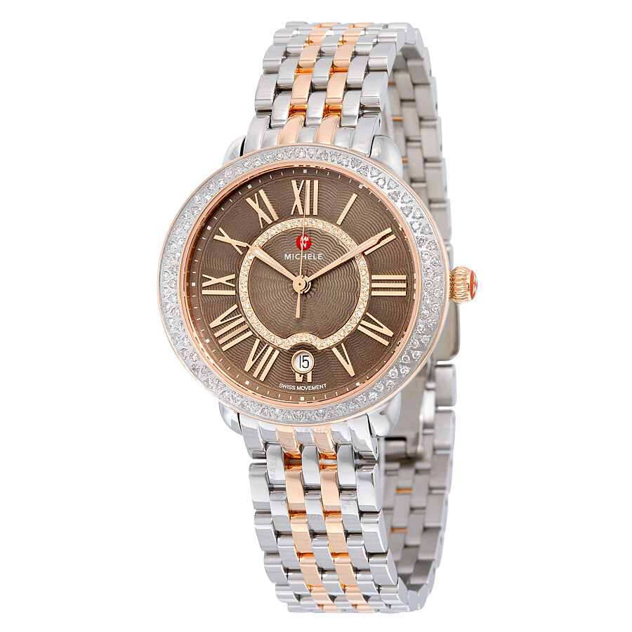 Michele serein 16 diamond cocoa diamond dial ladies watch mww21b000061 serein michele for Diamond dial watch