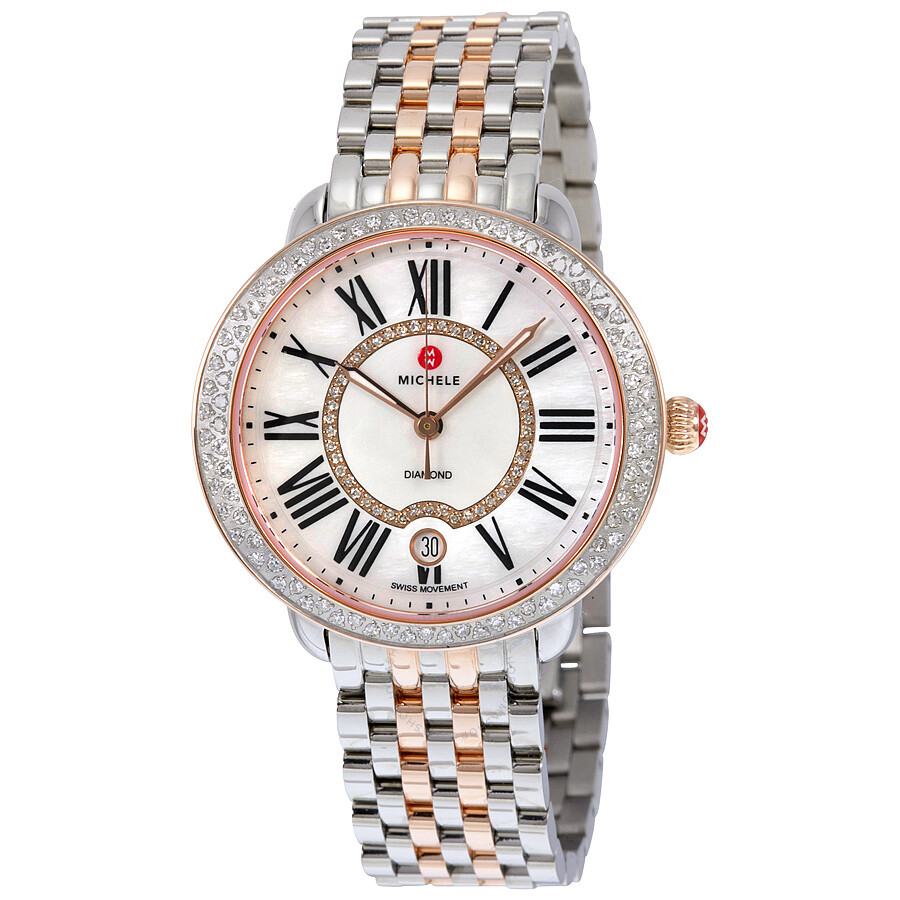 b8e799fc7 Michele Serein 16 Mother of Pearl Diamond Dial Two-Tone Ladies Watch  MWW21B000046 ...
