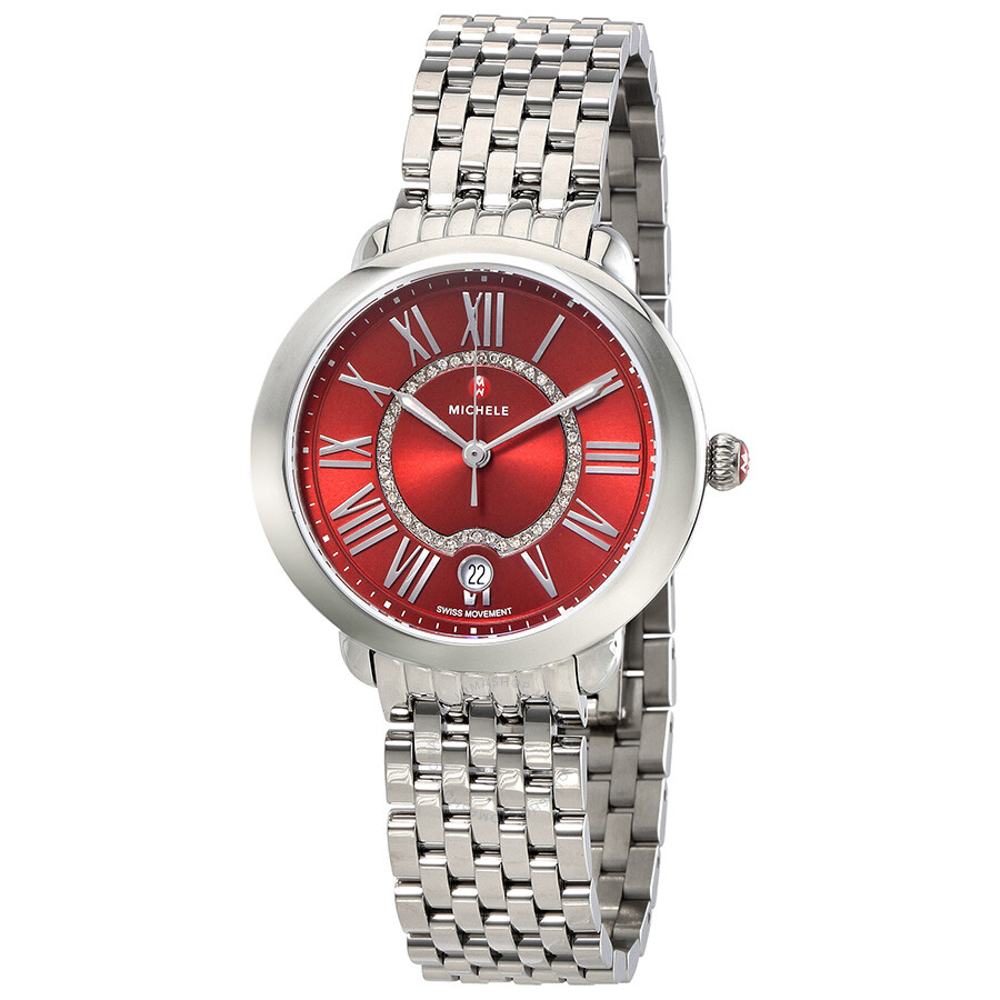 ff49cc0028db Michele Serein 16 Red Diamond-set Dial Ladies Watch