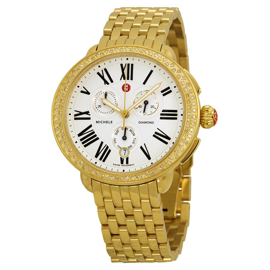 michele serein chronograph gold tone steel