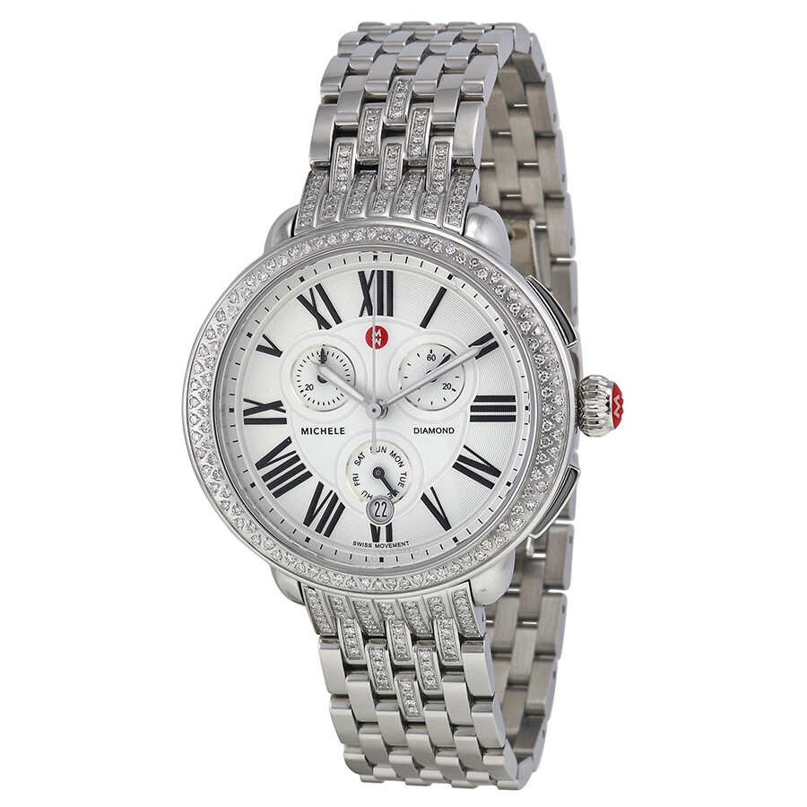 michele serein silver chronograph