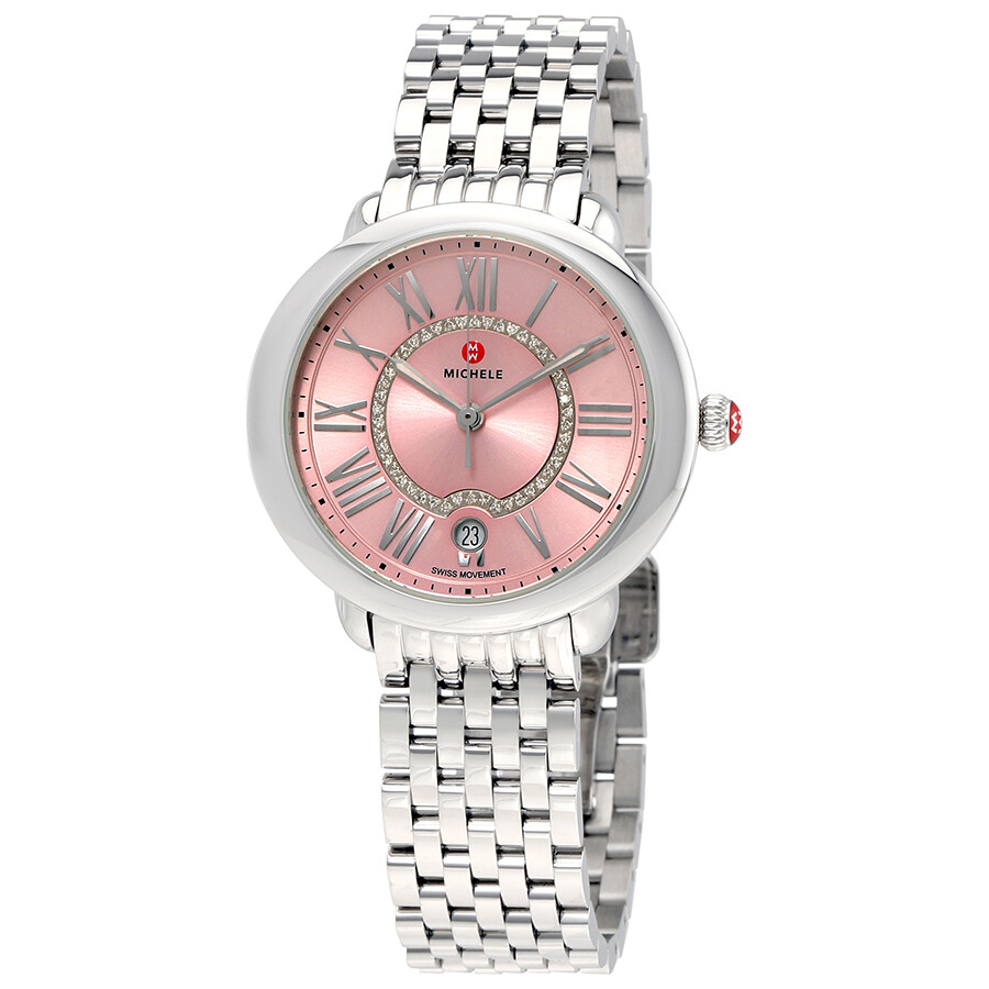 8635d1000a97 Michele Serein Pink Dial Diamond Ladies Watch