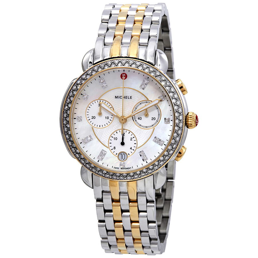 52c83aa46 Michele Sidney Mother of Pearl Dial Ladies Chronograph Two Tone Diamond  Watch MWW30A000005 ...