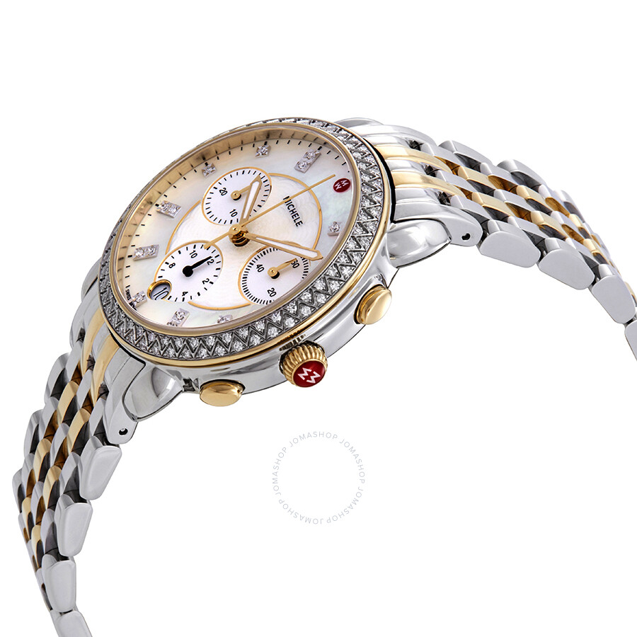 efe23368a ... Michele Sidney Mother of Pearl Dial Ladies Chronograph Two Tone Diamond  Watch MWW30A000005 ...