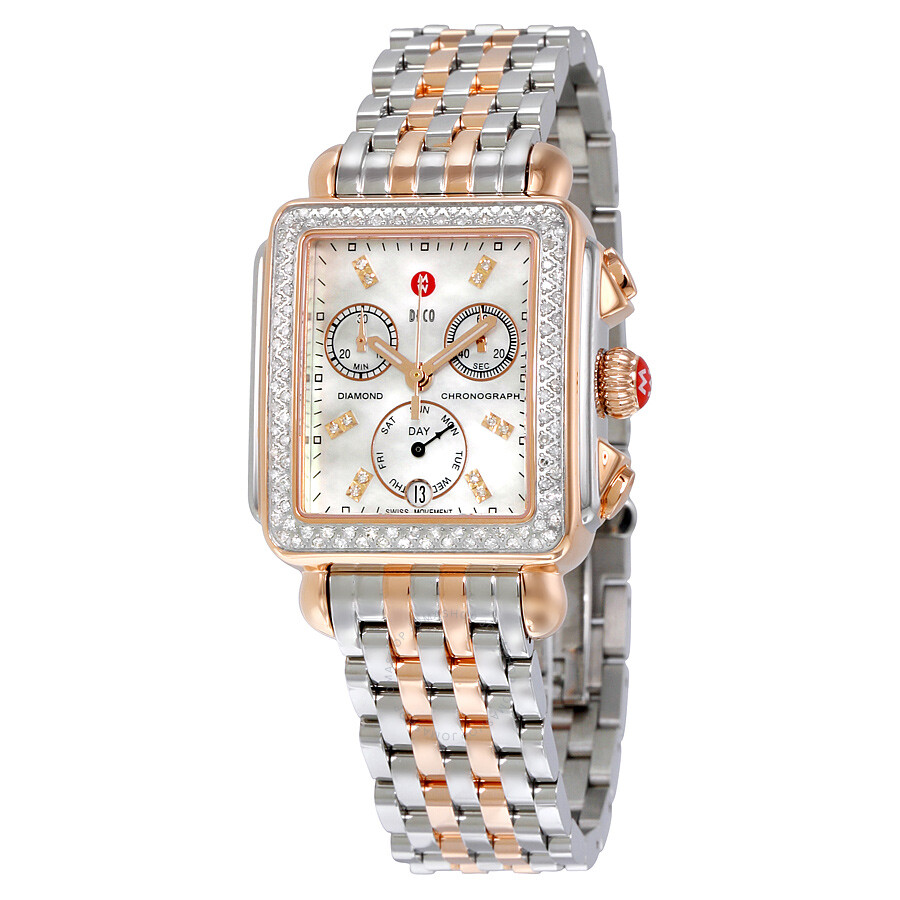 Mon Coach Deco michele signature deco diamond mother of pearl dial ladies watch  mww06p000232