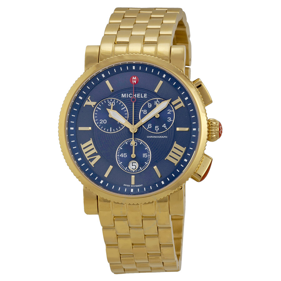 michele sport sail chronograph blue gold plated