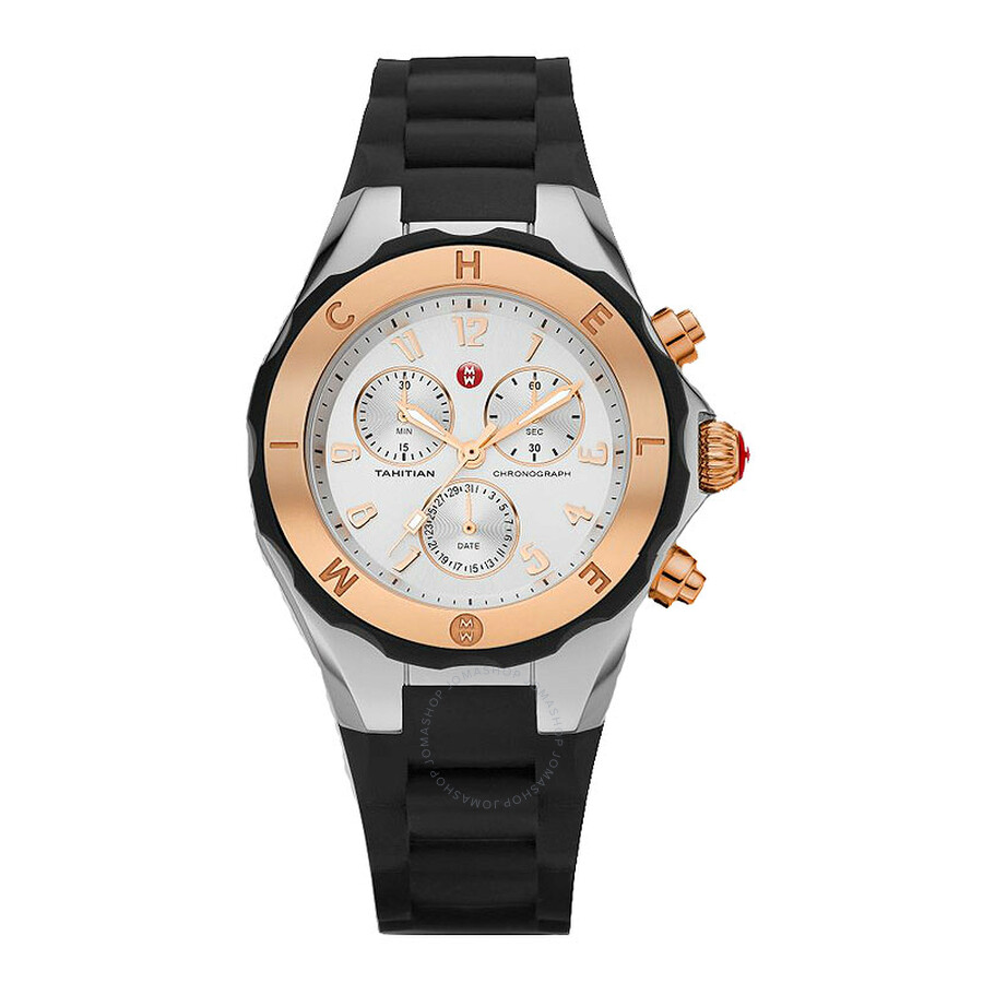 456af3f65 Michele Tahitian Jelly Bean Silver Dial Black Silicone Ladies Watch Item  No. MWW12F000059