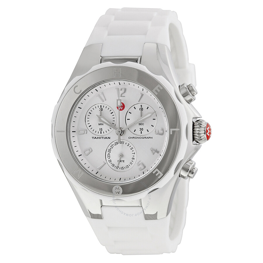 7cc4f57ea Michele Tahitian Jelly Bean Silver Dial White Silicone Ladies Watch  MWW12F000032 ...