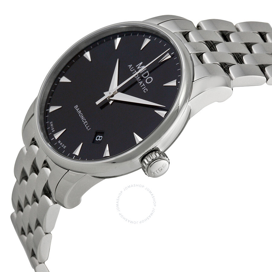 Mido baroncelli automatic black dial stainless steel men 39 s watch m86004181 baroncelli mido for Mido watches