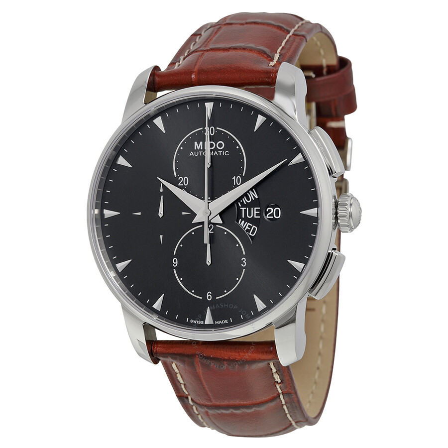Mido baroncelli automatic chronograph black dial brown leather men 39 s watch m860741882 for Mido watches
