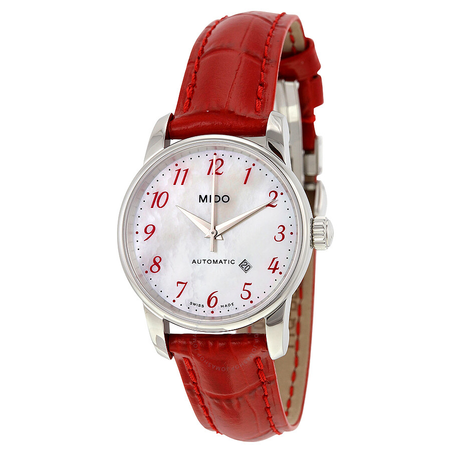 Mido baroncelli automatic mother of pearl dial red leather ladies watch m76004397 baroncelli for Mido watches