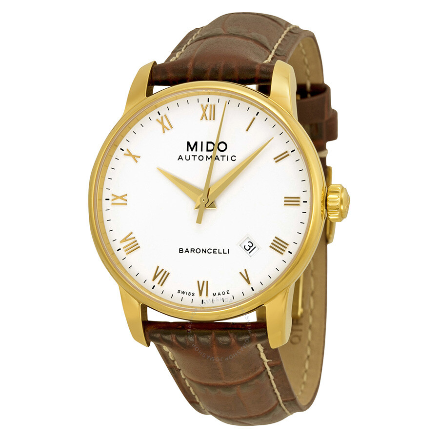 Mido Baroncelli Automatic White Dial Brown Leather Men's ...