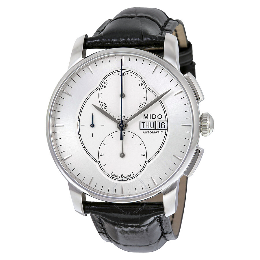 Mido baroncelli chronograph automatic silver dial black leather men 39 s watch m86074174 for Mido watches