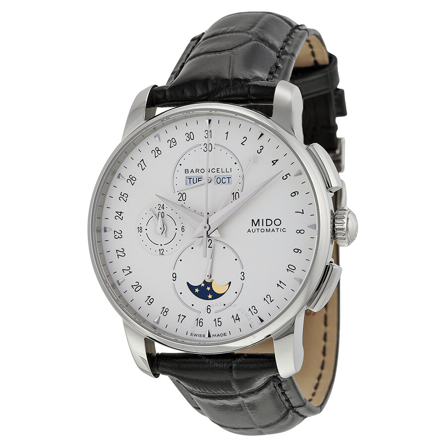 Mido baroncelli moonphase automatic silver dial black leather men 39 s watch m86074m142 for Mido watches