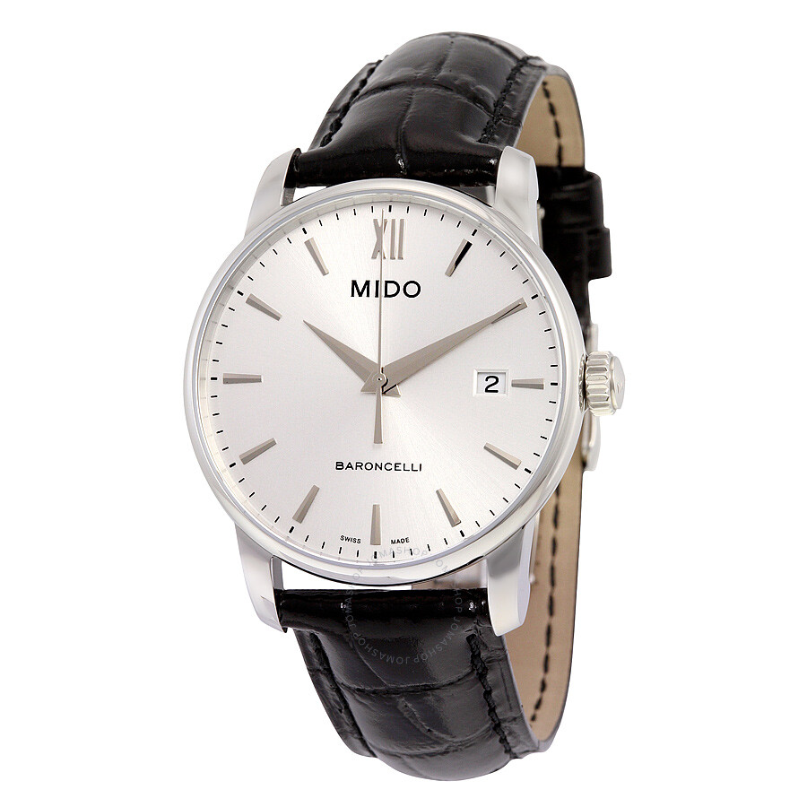 Mido baroncelli silver dial black leather men 39 s watch m0134101603100 baroncelli mido for Mido watches