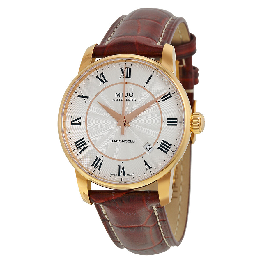 Mido baroncelli silver dial brown leather men 39 s watch m86002218 baroncelli mido watches for Mido watches