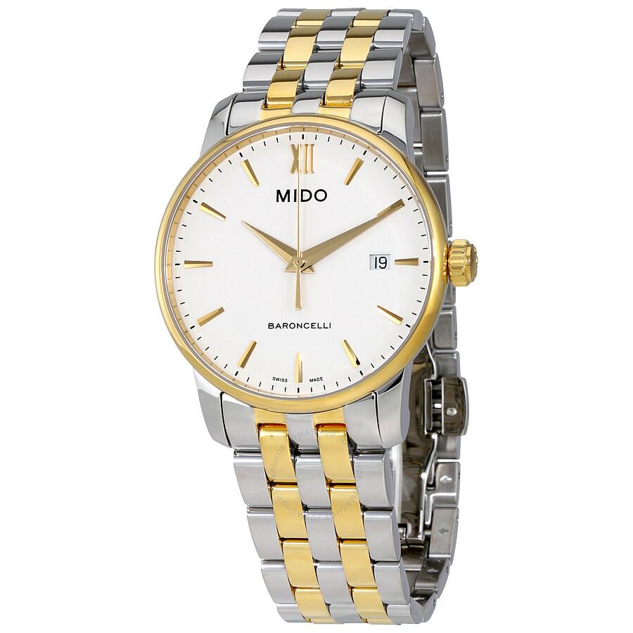 Mido Baroncelli White Dial Two-tone Men's Watch ...