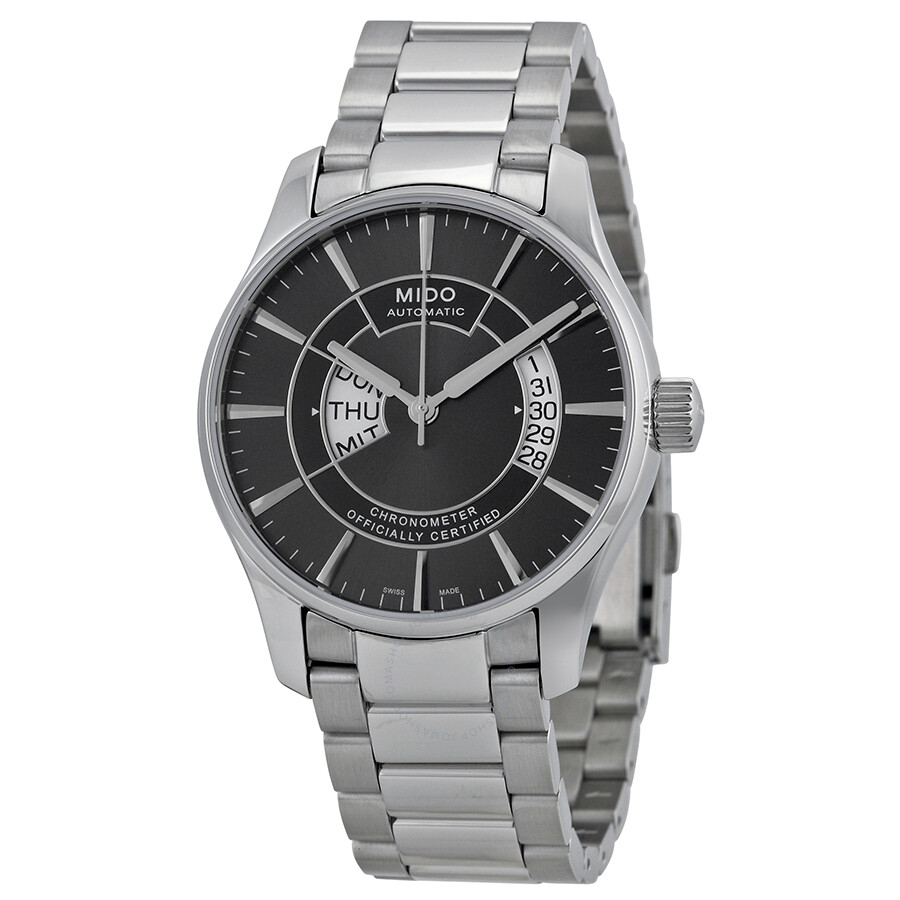 Mido belluna automatic chronometer black dial stainless steel men 39 s watch m0014311106102 for Mido watches