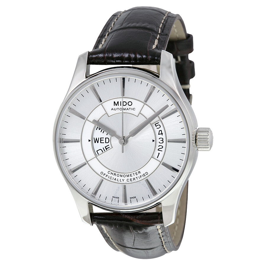 Mido belluna automatic silver dial brown leather men 39 s watch m0014311603112 belluna mido for Mido watches