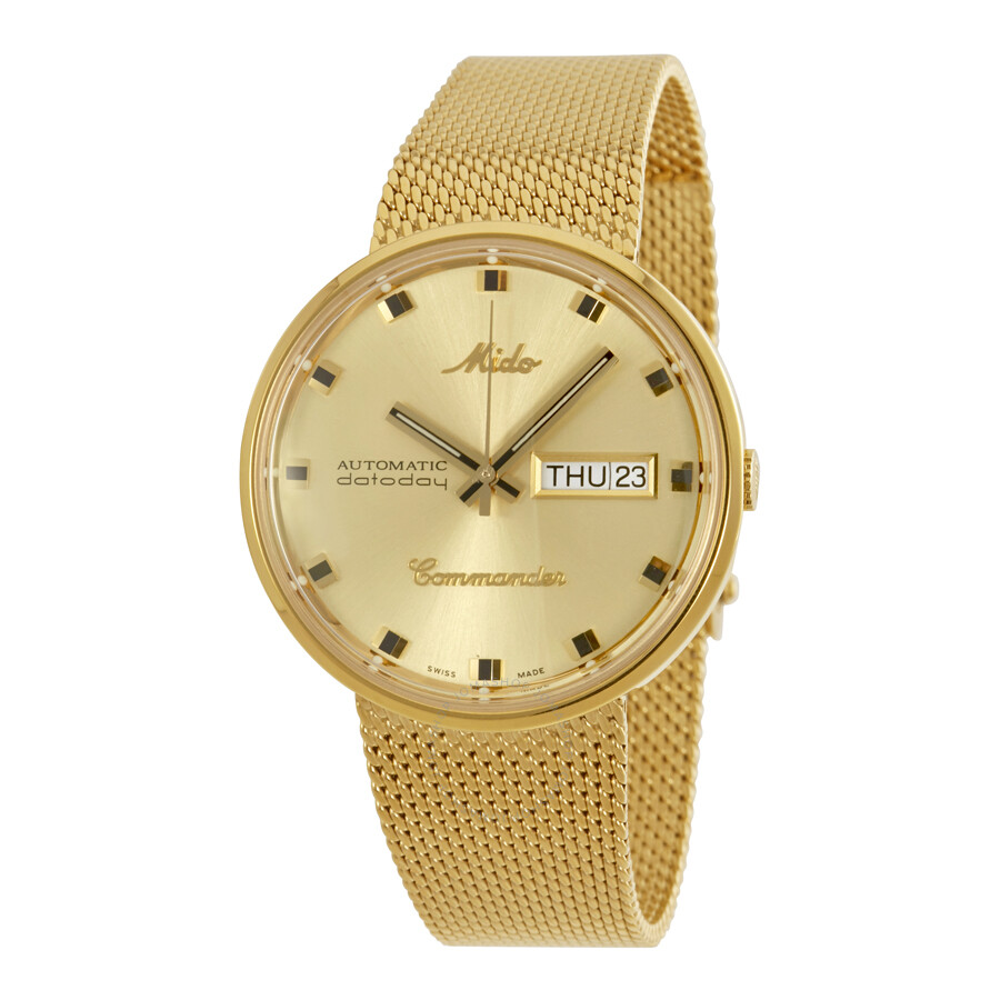 Mido commander i rose gold pvd 37 mm automatic unisex watch m842932213 commander mido for Mido watches