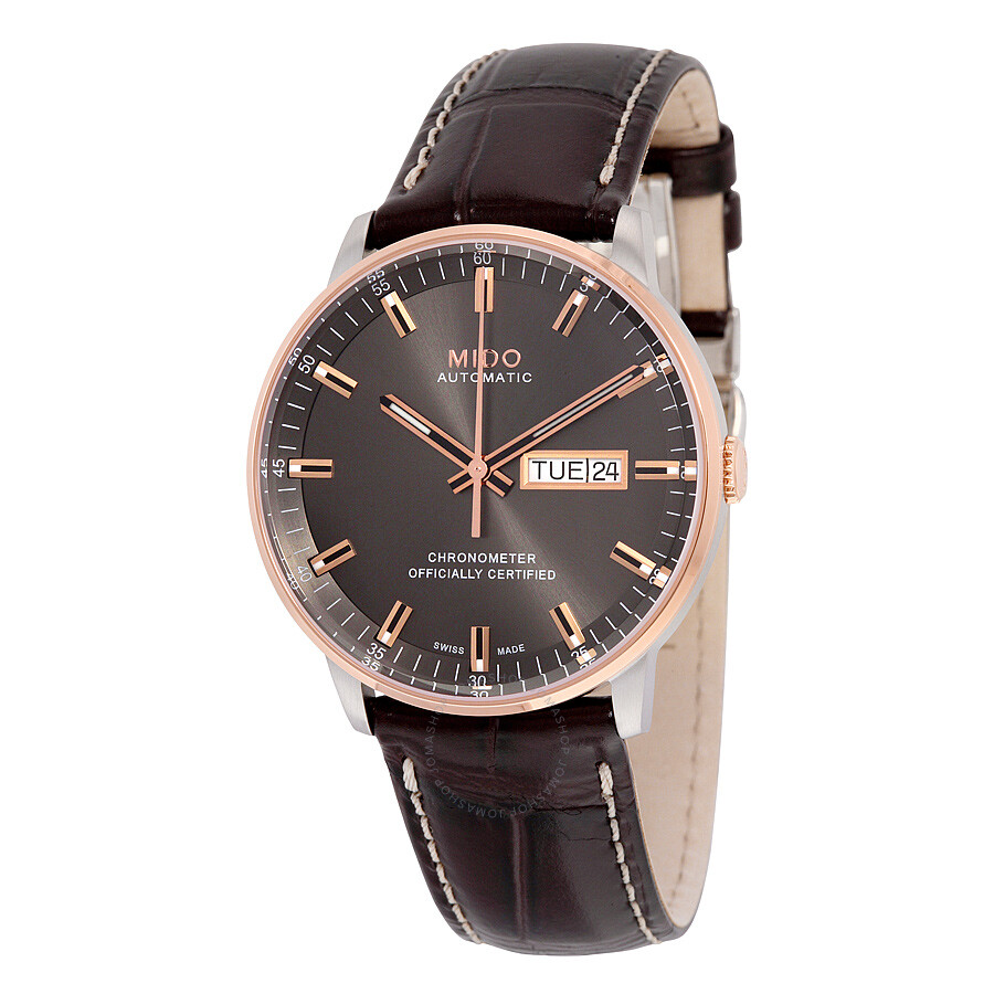 Mido commander ii grey dial maroon leather men 39 s watch m0214312606100 commander mido for Mido watches