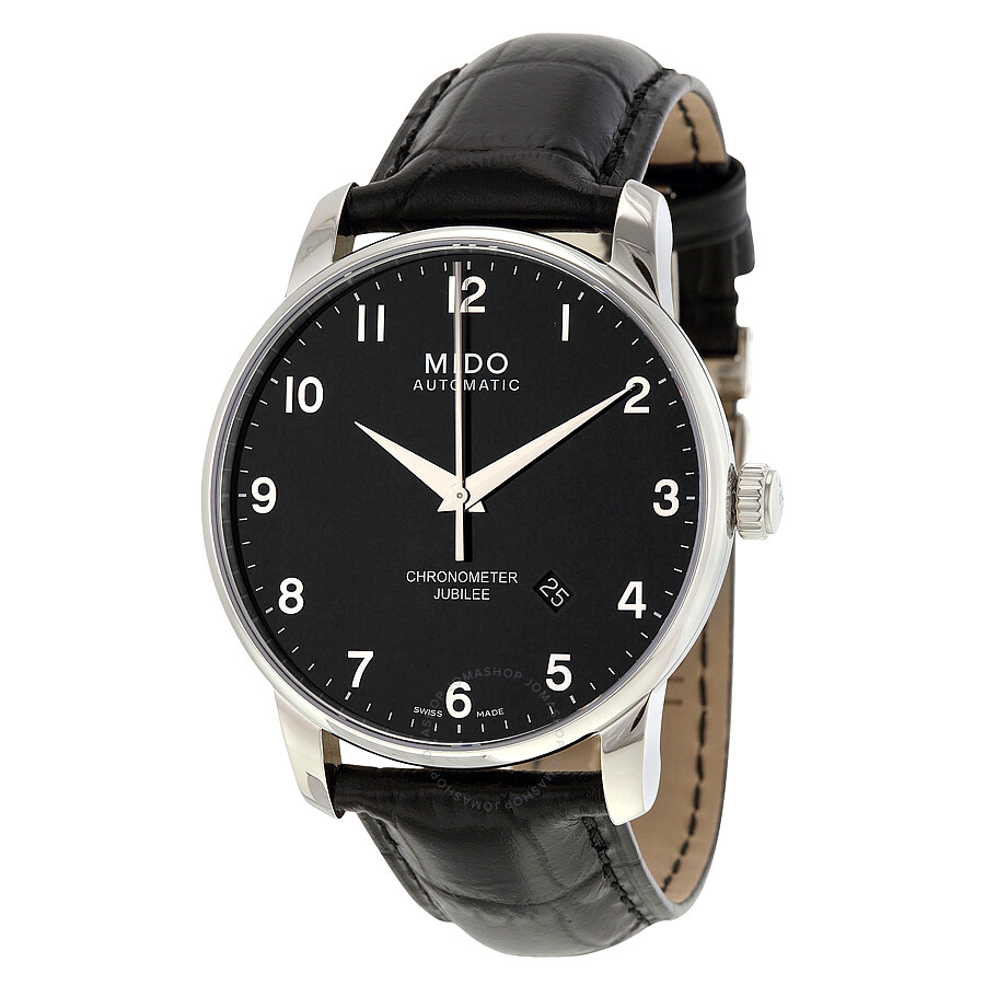 Mido jubilee automatic black dial black leather men 39 s watch m86904184 mido watches jomashop for Mido watches