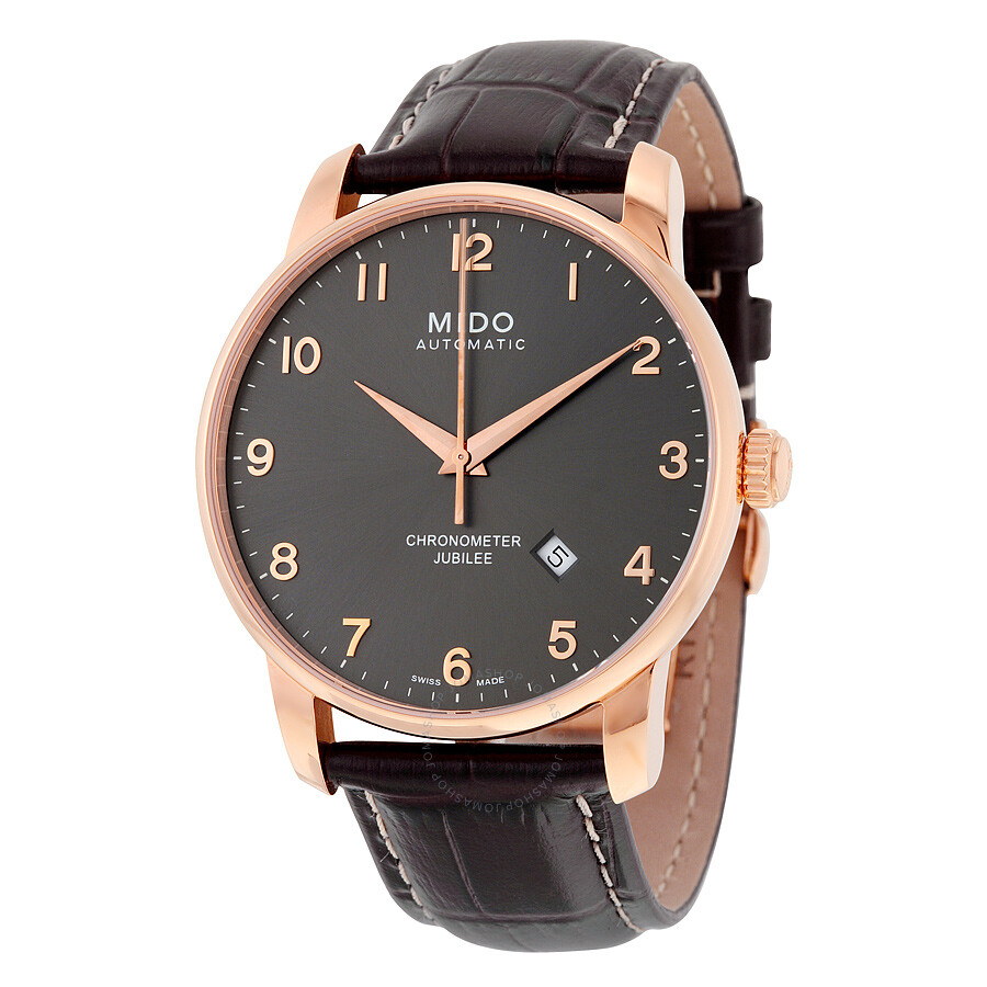 Mido jubilee automatic black dial brown leather men 39 s watch m86903138 mido watches jomashop for Jubilee watch